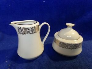 Czechoslovakia H&C small Creamer and Sugar White and Gold with lid