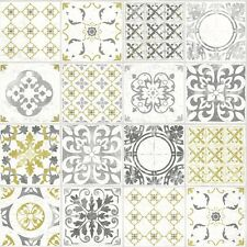 Grandeco Porto Moroccan Tile Pattern Wallpaper Yellow Floral Textured A22901 Sample