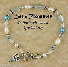 Heart, pearls, Swarovski Crystals Celtic Bridal Bracelet with Celtic