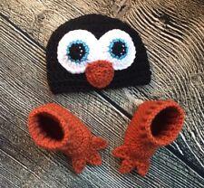 Newborn Baby Crochet Penguin Hat Boot Booties Infant Costume Photo Prop Gift
