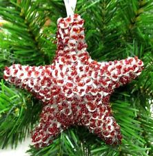 """Star Shaped Silver Sequins Red Beads Christmas Ornament 4"""" Elegant"""