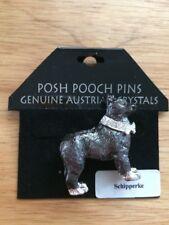 Austrian Crystal SCHIPPERKE Dog Lover Enamel Brooch Pin by Lanren-Spencer Laura