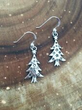 925 Sterling Silver Hook Earrings With Antique Silver Star Christmas Xmas Trees