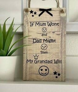 GRANDAD GIFT Wooden Hanging Plaque Keepsake From Grandchildren Fathers Day Birth