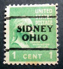 Sc # 804 ~ Used ~ 1 cent George Washington Issue, Precancel SIDNEY OHIO
