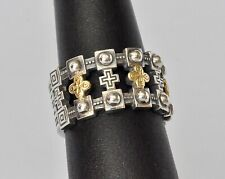 Konstantino Men's Ring Sz 11 Sterling Silver 18K Gold Wide Band Cross Stavros