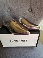 Nwb 9 West Anibelle pewter patent point toe mules sz 8M