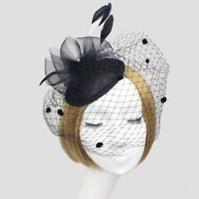 Ladies' Hair Clip Feather Fascinator Hat With Fish Net Face Veil Black