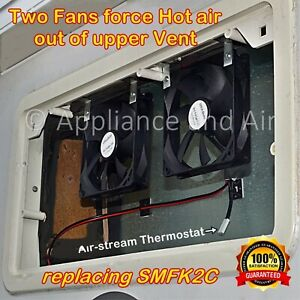 Two DOMETIC NORCOLD add on cooling Fan + Thermostat, Wiring, SMFK2C replacement