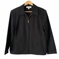 St. John Sport By Marie Gray Black Zip Jacket Blazer Gold Hardware Large L