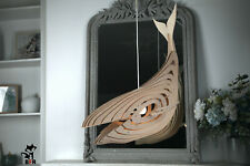 Whale lamp made of wood, decor, interior, children's room, sea lamp