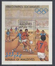 JO LOS ANGELES Maldives 1 bloc de 1985 ** FOOTBALL OLYMPICS
