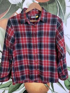 Cabela's Size S Small Plaid Red Flannel Button Front Shirt Long Sleeve