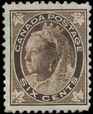 Canada #71 mint F+ OG HHR 1897 Queen Victoria 6c brown Maple Leaf CV$55.00