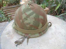 INDOCHINE : CASQUE US ARMY 39-45 REPEINT ARMEE FRANCAISE COMMANDOS MARINE