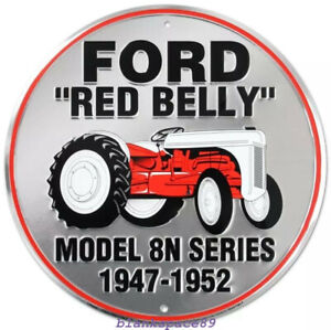 Metal Tin Sign round ford red belly tractor  Bar Pub Retro Poster 30cm diameter