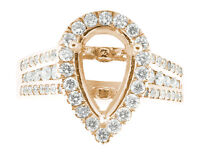 1.15Ct Round Diamond Pear Shape Semi-Mount Halo Engagement Ring 18K Rose Gold