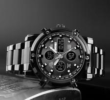 Herren Armbanduhr Edelstahl BLACKED Analog Digital Quarz Chrono Uhr Wasserdicht
