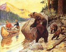 Hunters Canoe Surprise Encounter with Bear, Cubs by Phillip Goodwin