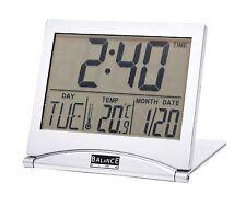 Orologio da Viaggio LCD Argento temperatura umidità data calendario