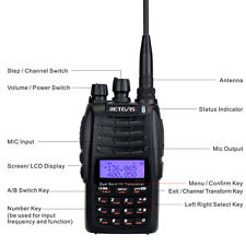 New Walkie Talkie 5W Cross-Band Repeater UHF+VHF 128Ch FM VFO/MR/CH 2-Way Radio