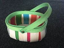 Multi-colored Oval Woven Basket with movable Handle Pink blue orange green