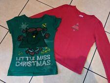 2 Girls Christmas Tops T-shirts 7-8 Yrs