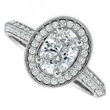 18kt H SI 1.50ct Oval Cut Milgrain Halo Pavé Diamond Engagement Ring Certified