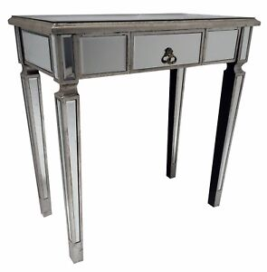 Mirrored Console Desk Bedroom Dressing Table Venetian Glass 1 Drawer Storage