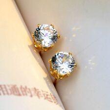 ear stud 7mm Cz Vogue Jewelry Charms Earrings 18k Yellow Gold Filled Women