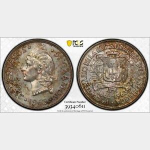 O005 1963 Dominican Republic 25 Centavos London Mint PCGS SP64