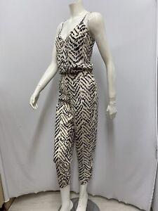 Parker 100% Silk Jumpsuit NWT $286.00 Black and Beige Printed Size Large L