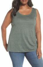 Eileen Fisher Nori Green Striped Sleeveless Tank Top 1X, 3X