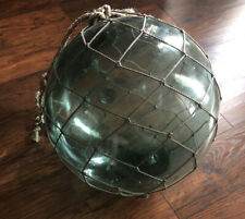 Antique Japanese Large Glass Fishing Float Buoy Ball Roped Net -15 Inches
