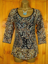 Monsoon Blouse 3/4 Sleeve Floral Tops & Shirts for Women