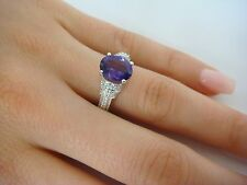 GORGEOUS AMETHYST AND DIAMONDS HIGH SET LADIES RING 4.0 GRAMS, SIZE 7