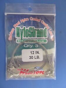 Mason Tackle Company Stainless Steel Leaders Nylon Coated Lot of 4 cards NEW
