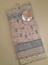 Nuby Baby Boy Layette Blue Puppy Chevron 4 Swaddling Flannel Receiving Blankets