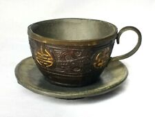 Antique Chinese carved coconut and pewter tea cup and saucer