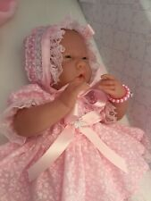 Berenguer Baby Doll With Soft Body In Pink Dress,Panties,Sun Bonnet + Pink Shoes