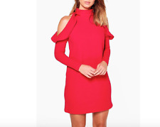 Ladies New High Neck Frill Detail Open Shoulder Shift Dress In Red Size 12 UK