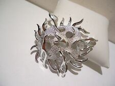 Brooch & Earrings Pin Set Silver Plate April 1970 Nos Sarah Coventry Sea Urchin