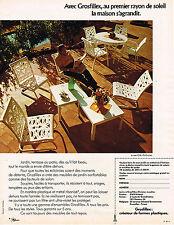 PUBLICITE ADVERTISING 035  1973  GROSFILLEX   jardin terrasse sièges table