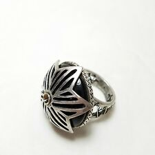 Cocktail Ring Silver Tone Black glass Goth Industrial sz 8?
