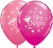 "5 x Pink Hen Night Party Glasses Qualatex 11"" Latex Balloons"