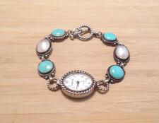 Sterling Silver Corazon Women's Quartz Wristwatch w/ MP and Turquoise ~ 13-B557