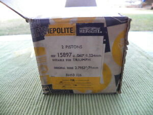 NOS pair of pistons +060 Hepolite for Triumph THUNDERBIRD 650 CR  7.5:1