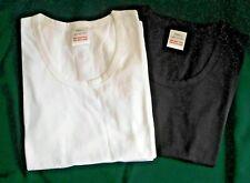 2 x   UK LARGE -  CAP SLEEVE T SHIRTS -  1 X BLACK & 1 X WHITE 100% COTTON BNIP