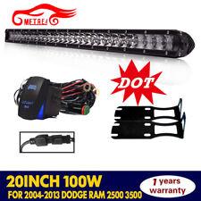 "20""100W LED Light Bar Single-Row Spot Flood Work For Dodge Ram 2500 3500"