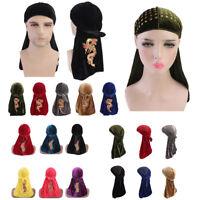 Unisex Men Women Breathable Velvet Pirate Bandana Hat Turban Cap Durag Headscarf